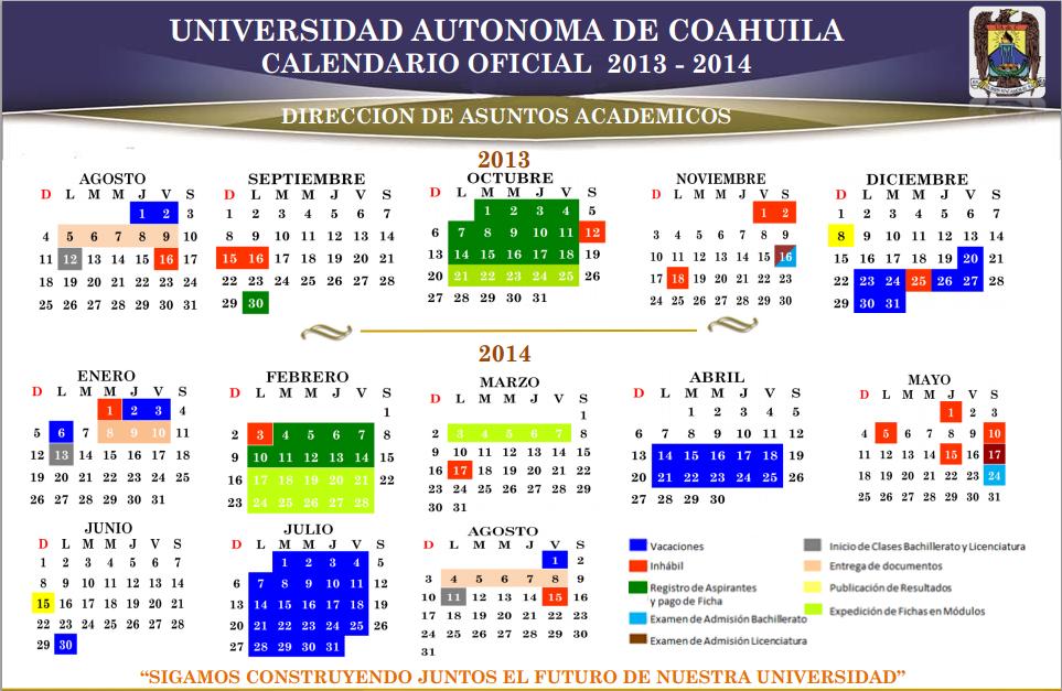 calendario 2013-2014 UAdeC