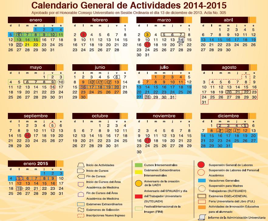 calendario 2014-2015 UAEH