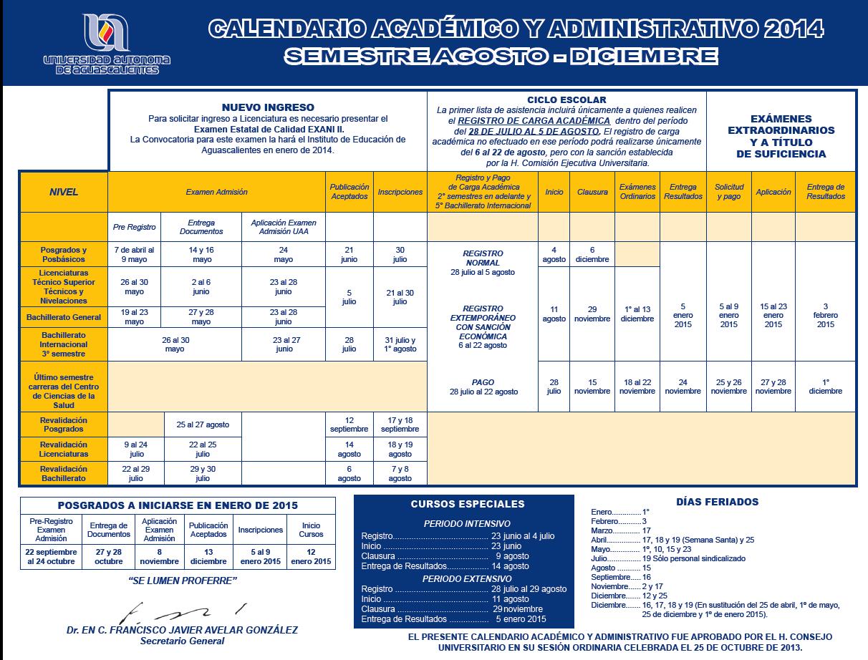 calendario 2014 uaa segundo semestre