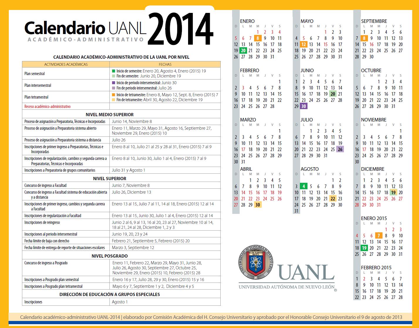 calendario UANL 2014