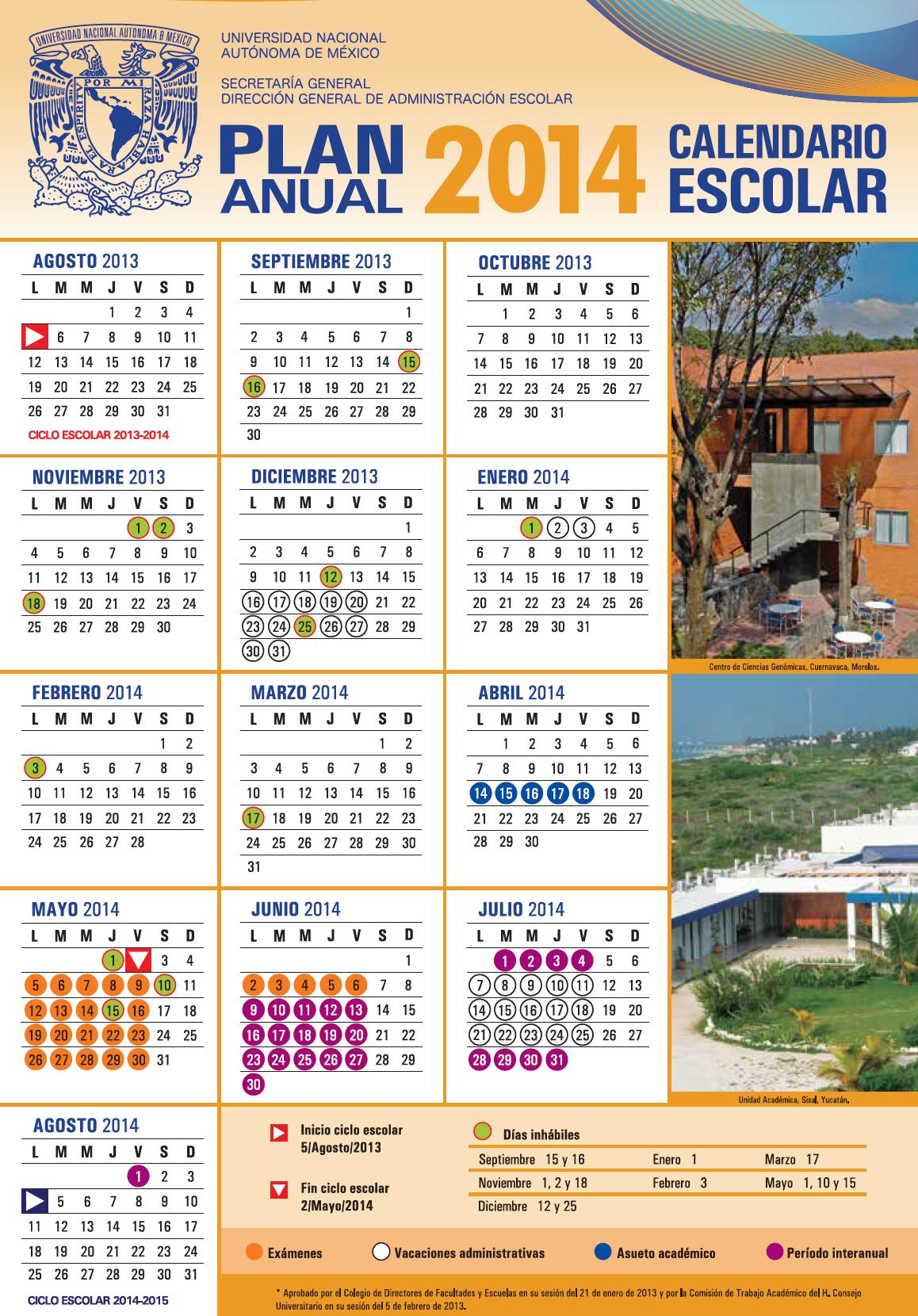 calendario anual UNAM 2013-2014