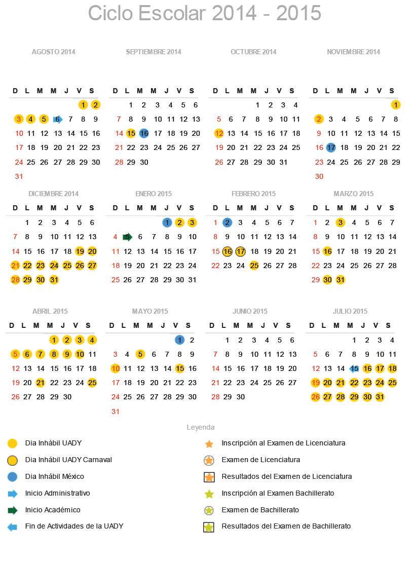 calendario escolar uady 2014-2015