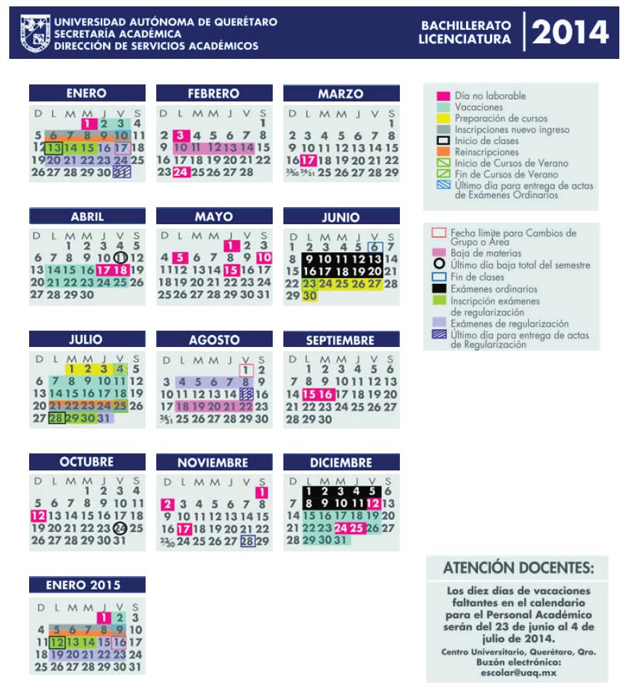 calendario escolar uaq 2014