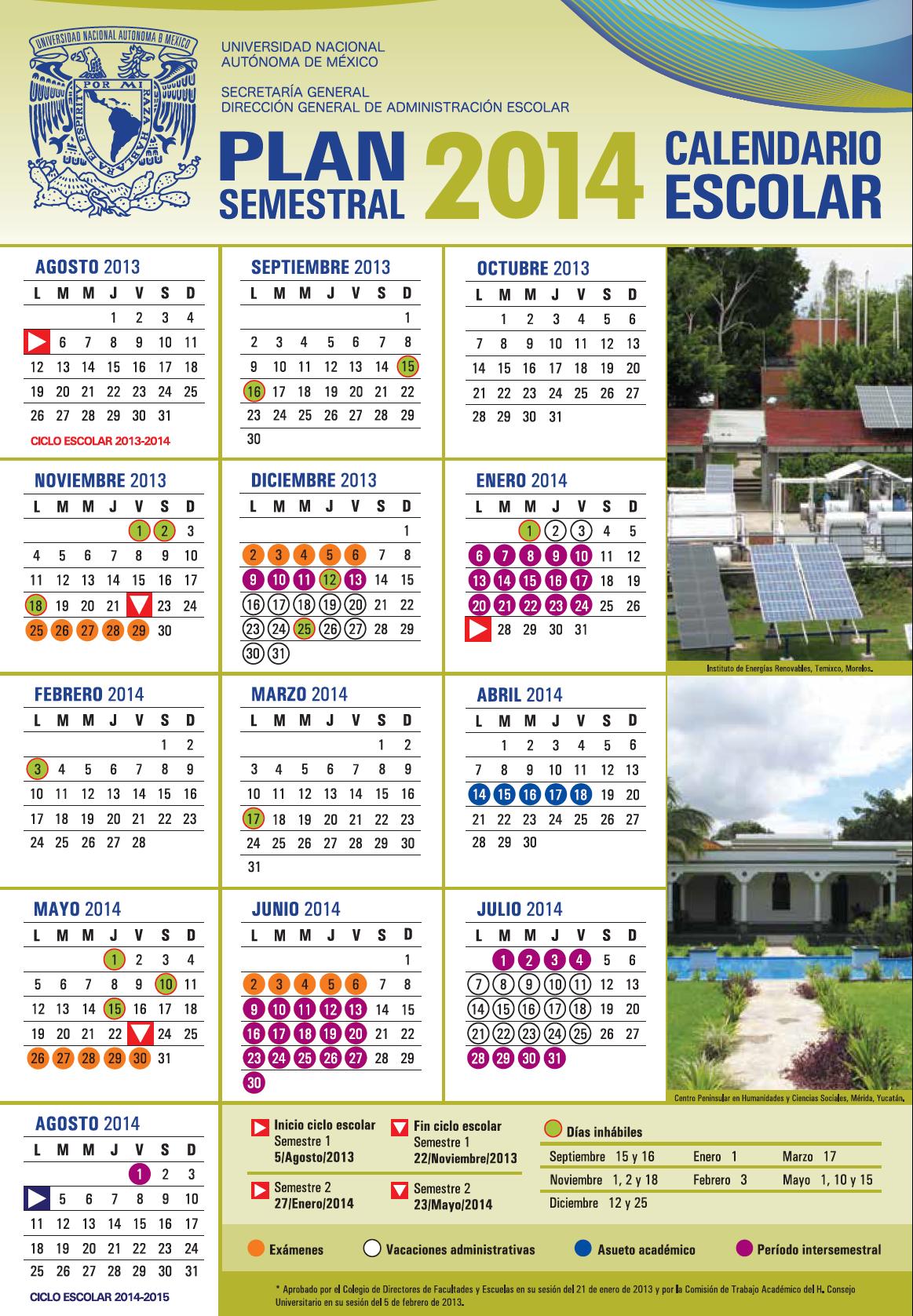 calendario semestral UNAM 2013-2014