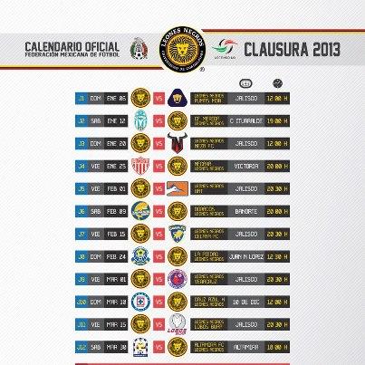 calendario leones negros - CalendarioLaboral.com.mx