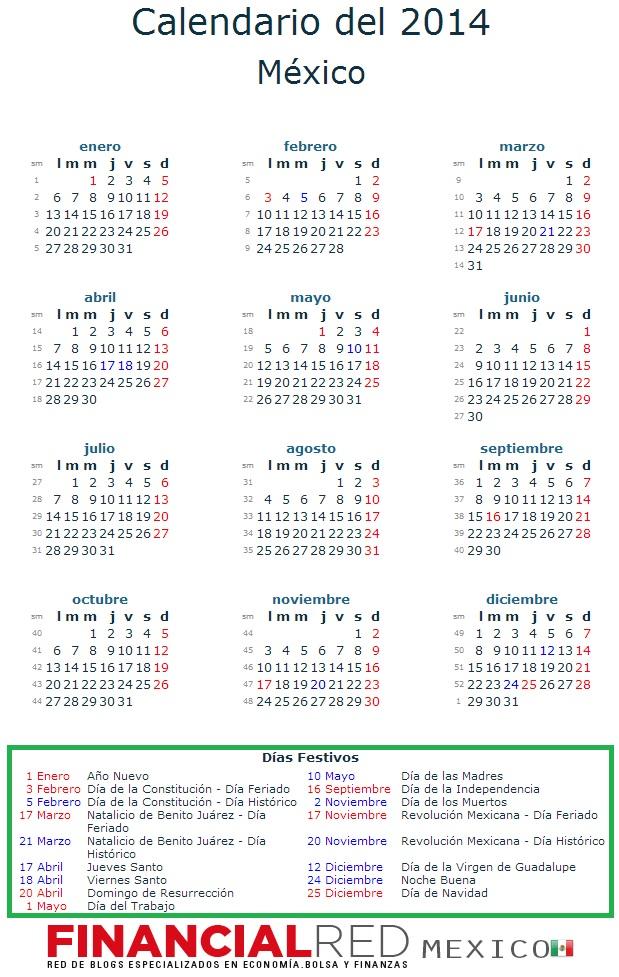 calendario 2014 mexico