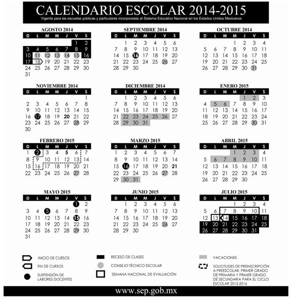 calendario escolar SEP 2014-2015