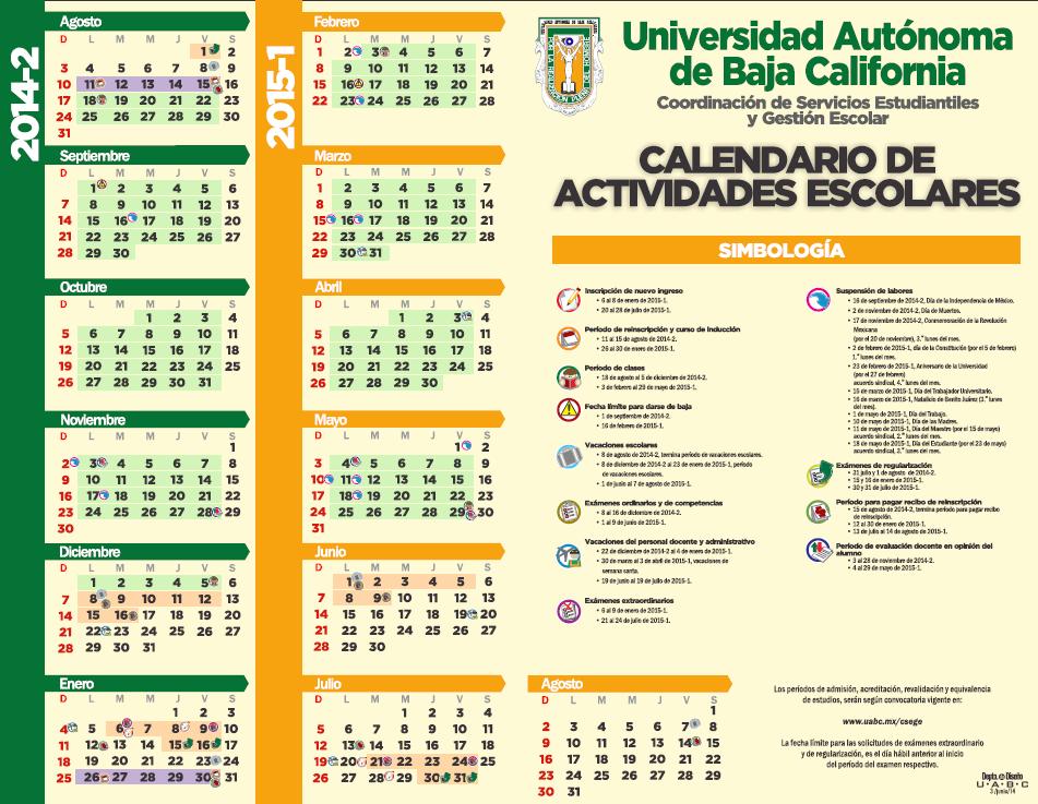 UABC calendario escolar 2014 2015