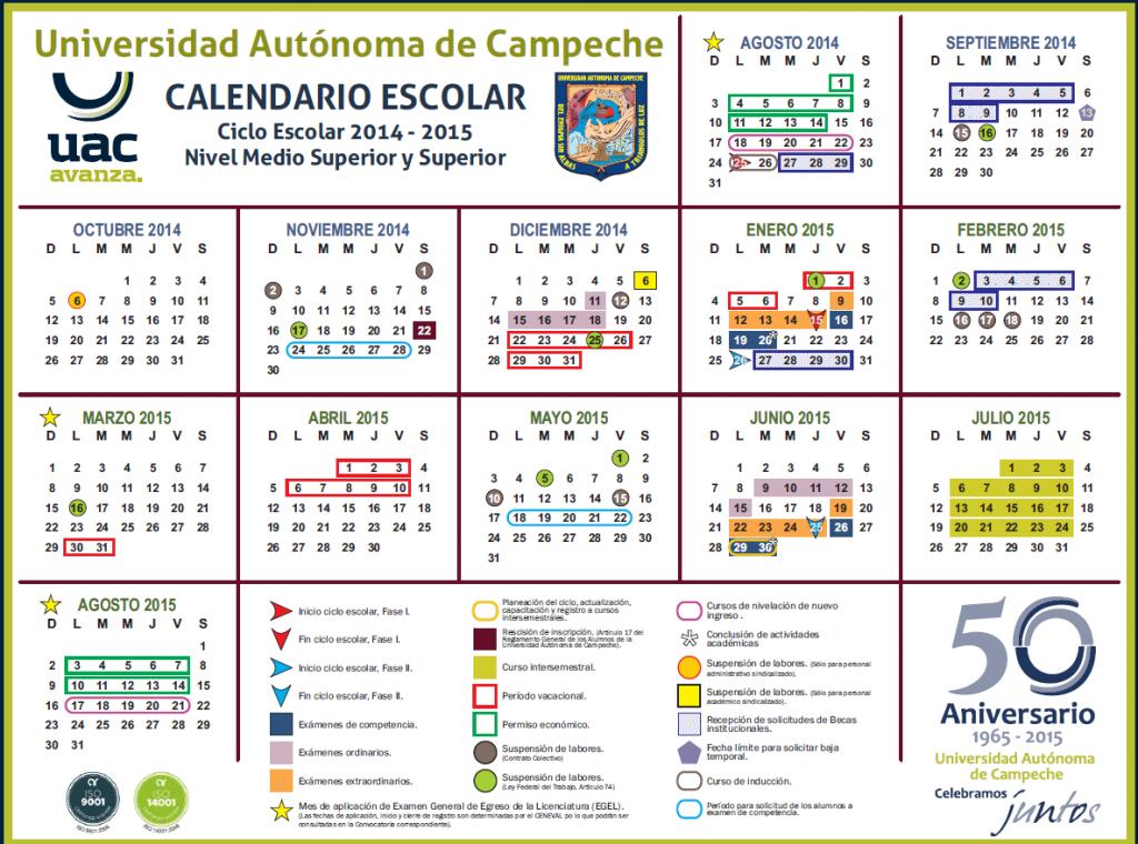UACAM calendario 2014-2015