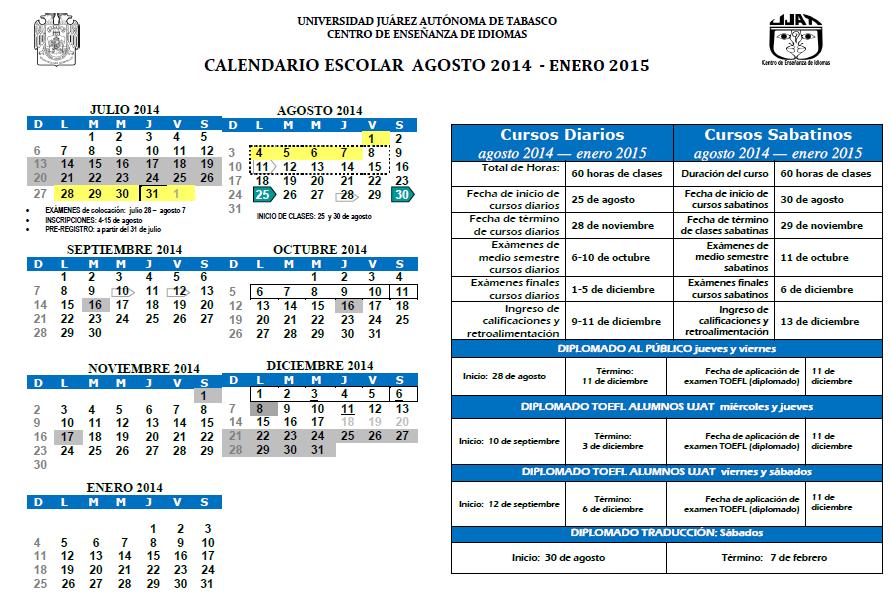 calendario ujat 2014-2015