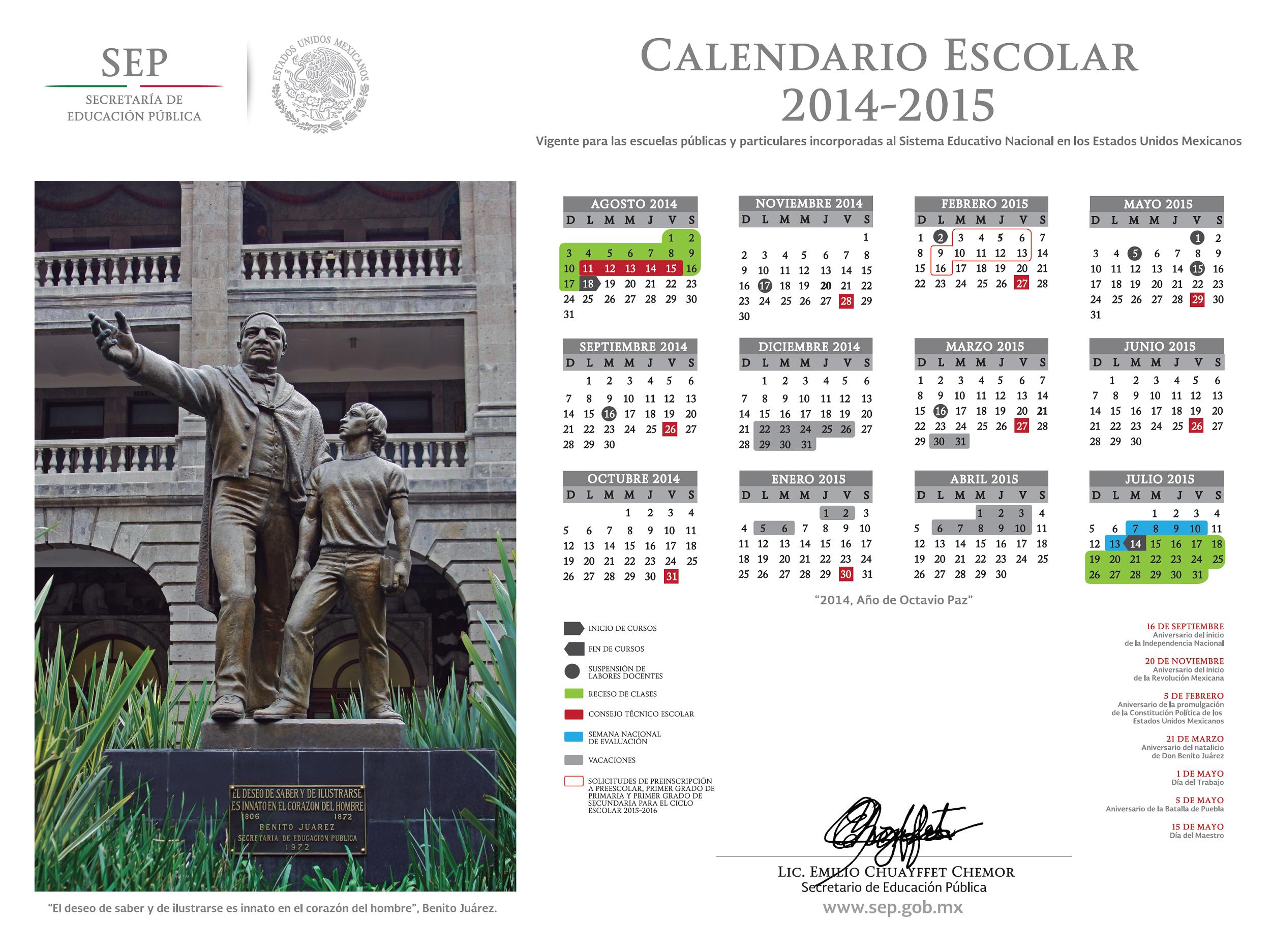 calendario ciclo escolar 2014-2015