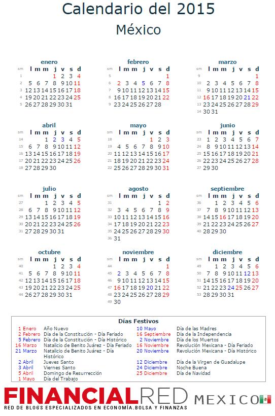 calendario mexico 2015