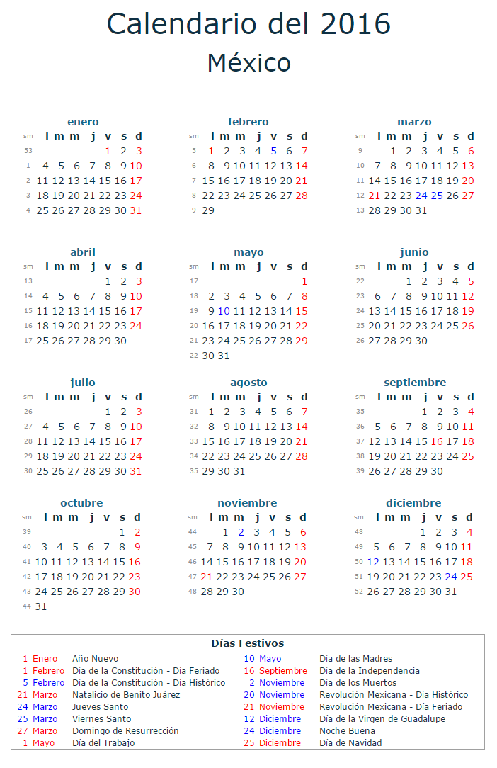 calendario laboral 2016 mexico