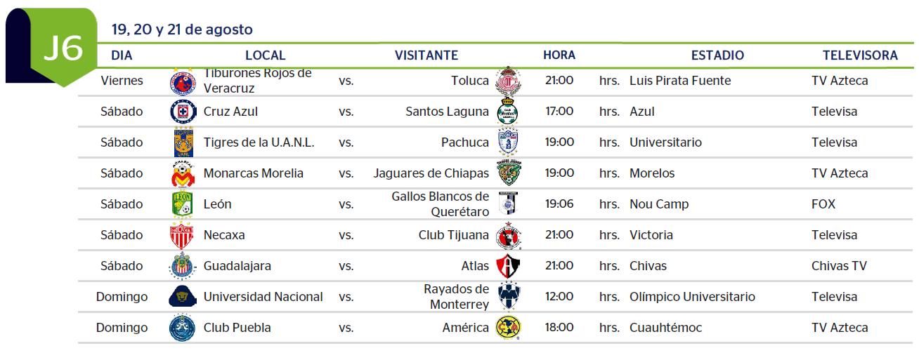 Apertura Liga MX 2016 - CalendarioLaboral.com.mx