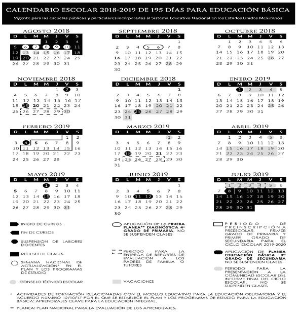 Calendario Escolar 2020 Sep Oficial.Calendario Escolar Oficial Sep 2019 2020 Calendariolaboral