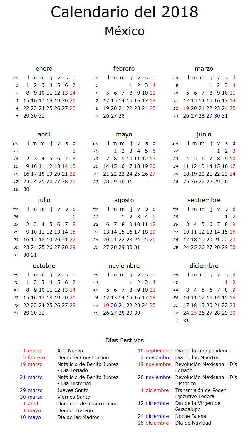 Calendario De Feriados 2018 Calendariolaboral Com Mx