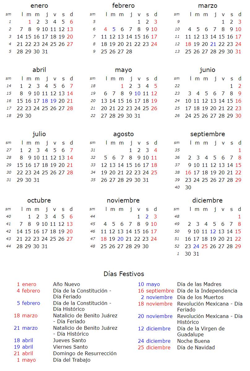 Calendario Noviembre 2019.Feriados Puente 2019 Calendariolaboral Com Mx
