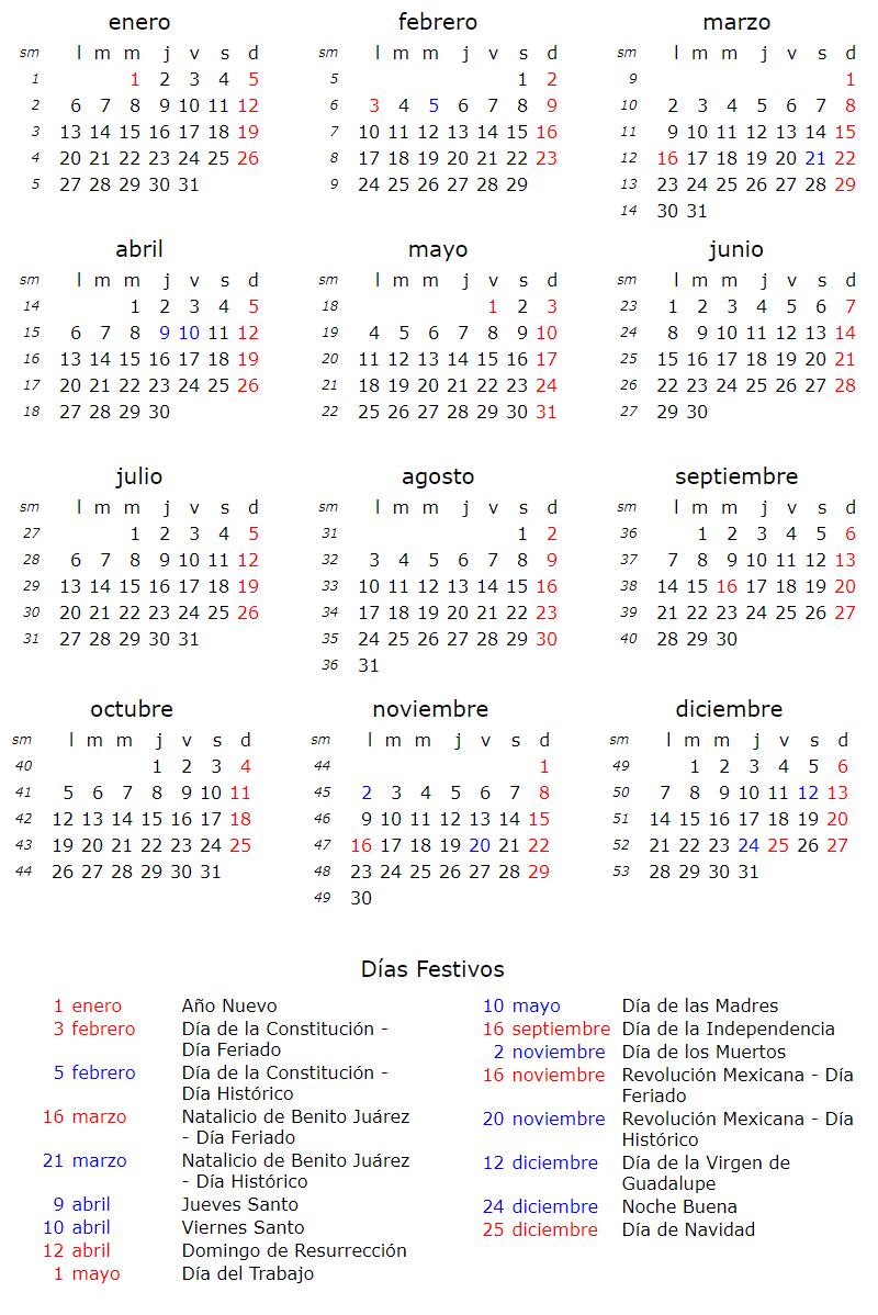 calendario laboral festivos y feriados 2020 mexico